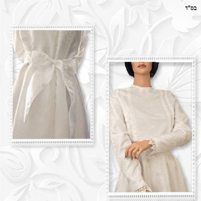 Ivory Taffeta Jacquard Shoulder Pleated Top and Skirt 03