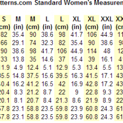 Kosher Patterns Womens Measurement Chart